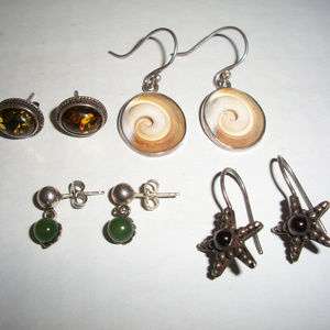 Jade, Amber 925 Silver Earrings Lot